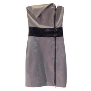 Silver Asymmetrical Buckle Zip Strapless Dress